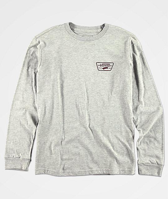 627ce84cc2 Vans Boys Full Patch Grey   Burgundy Long Sleeve T-Shirt
