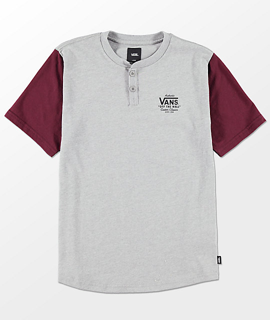 Vans Boys Hitson Heather Grey   Port Wine Henley Shirt  b57af2259