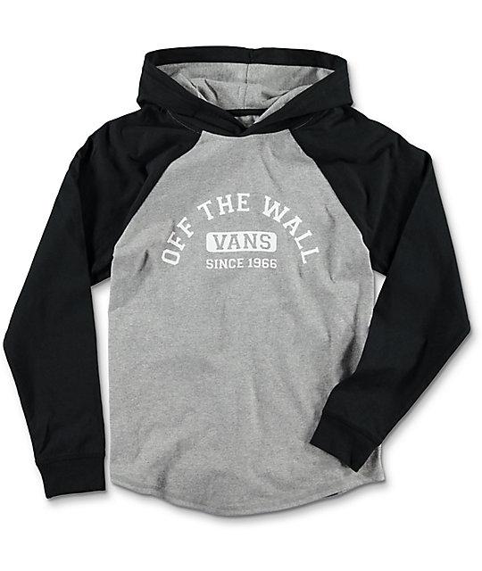 137a668449 Vans Boys Homewood Cement   Black Hooded Long Sleeve T-Shirt
