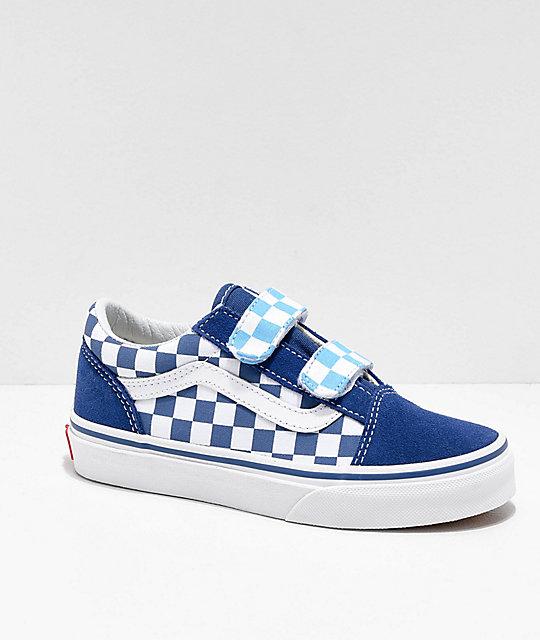 aeb8f1195a Vans Boys Old Skool V Navy Blue & Checker Skate Shoes