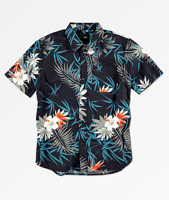 685fa8a733df76 Vans Boys Peace Out Floral Short Sleeve Button Up Shirt