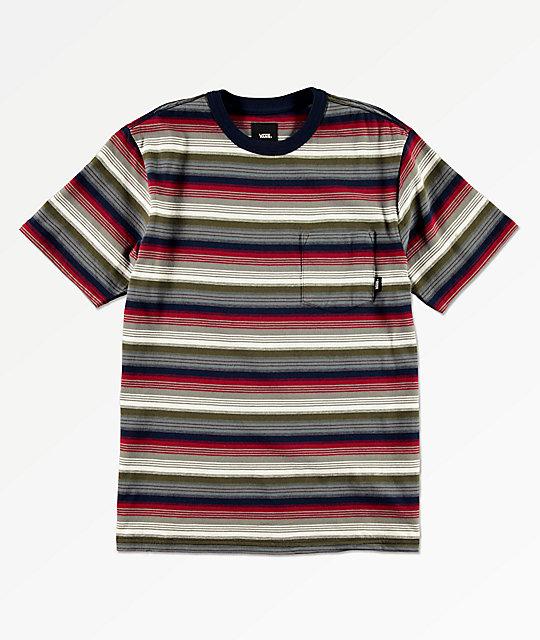 f5f5e001 Vans Boys Redmond Navy, Red & White Striped Pocket T-Shirt