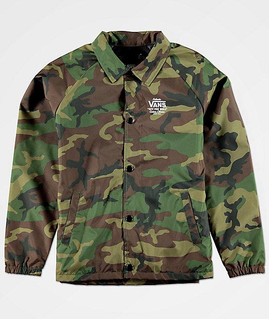 faf2d3a6ef Vans Boys Torrey Camo Coaches Jacket