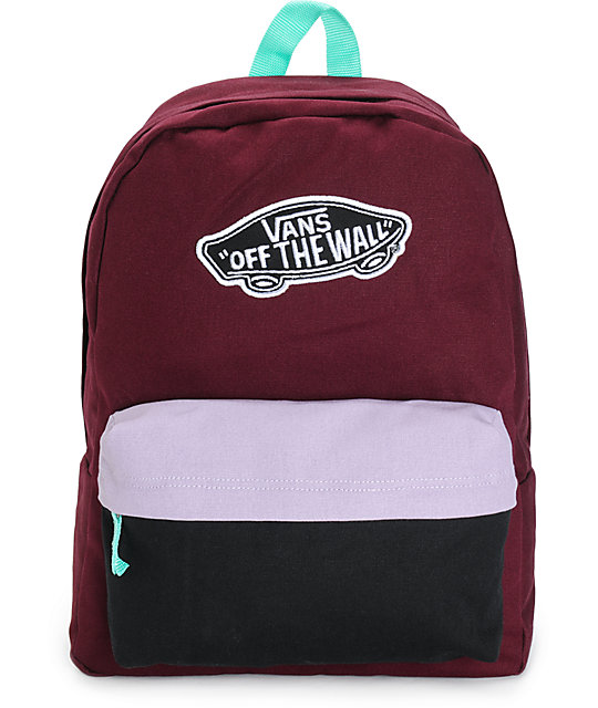bb72b4b74de Vans Burgundy & Lavender Colorblock Backpack | Zumiez