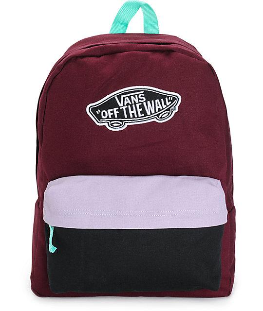 6b4012a5 Vans Burgundy & Lavender Colorblock Backpack