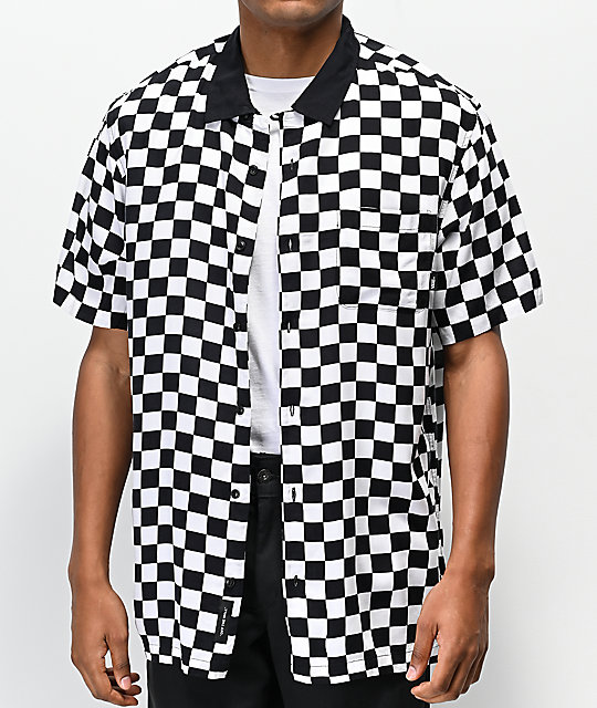 Vans Camp Black & White Checkerboard Woven Short Sleeve Button Up Shirt