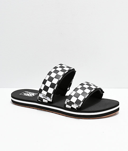 99162e679b9 Vans Cayucas Checkerboard 2 Strap Slide Sandals