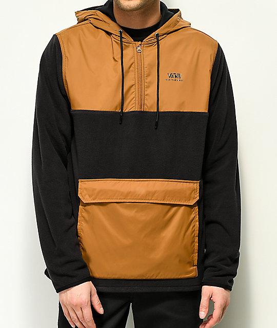 da1cb872a2 Vans Chadbourne Black   Brown Tech Fleece Anorak Jacket