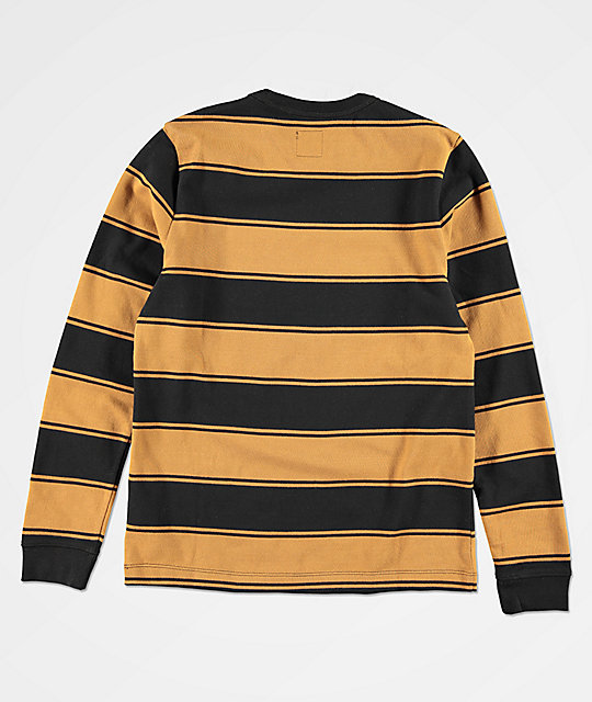 Vans Chamberlain Brown & Black Striped Long Sleeve T-Shirt