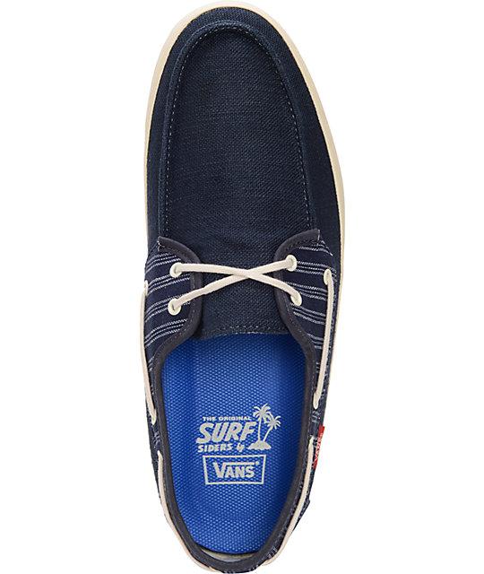 b9eb26c12f ... Vans Chauffeur Navy Blue   Antique White Boat Skate Shoes ...