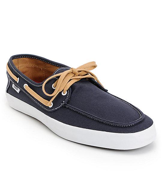 1702631523 Vans Chauffeur Navy Blue   Tan Boat Skate Shoes