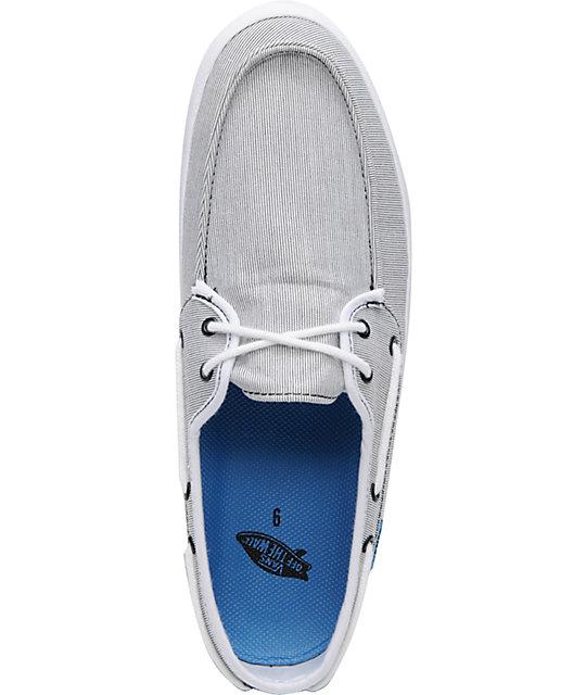 7452eb8d8896 ... Vans Chauffeur Stripe Black   Cyan Boat Skate Shoes ...