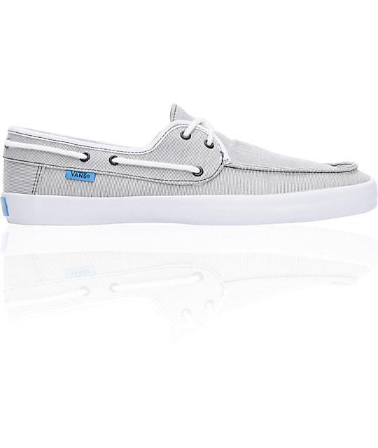 1372d2b6af39 ... Vans Chauffeur Stripe Black   Cyan Boat Skate Shoes