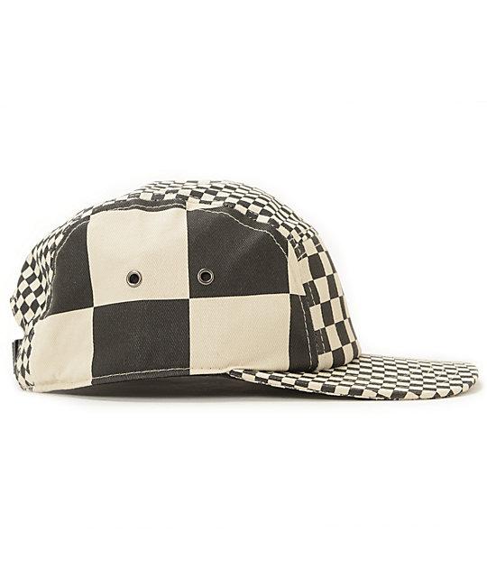 43644d1d7de7f Vans Check It Black & White Checkered 5 Panel Hat   Zumiez