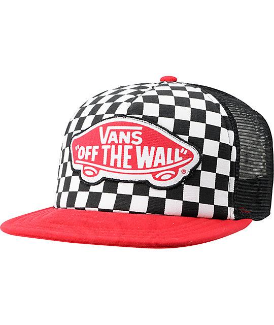 79205127 Vans Checker Black & Red Trucker Hat | Zumiez