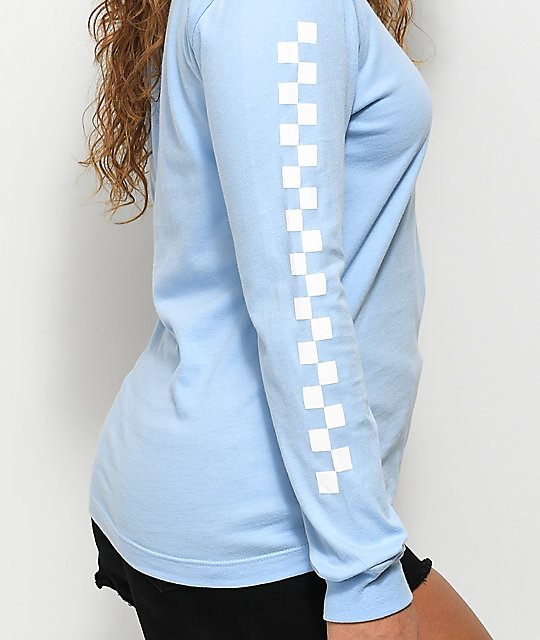 fecd04fc12f029 Vans Checker Light Blue Long Sleeve T-Shirt   Zumiez