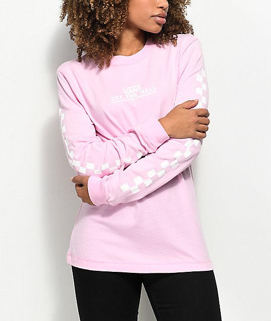 8e1aea2a0fea25 vans-checker-otw-pink-long-sleeve-t-shirt by
