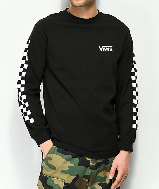 b57f9e7236ce94 ... Vans Checker Side Stripe Black Long Sleeve T-Shirt ...