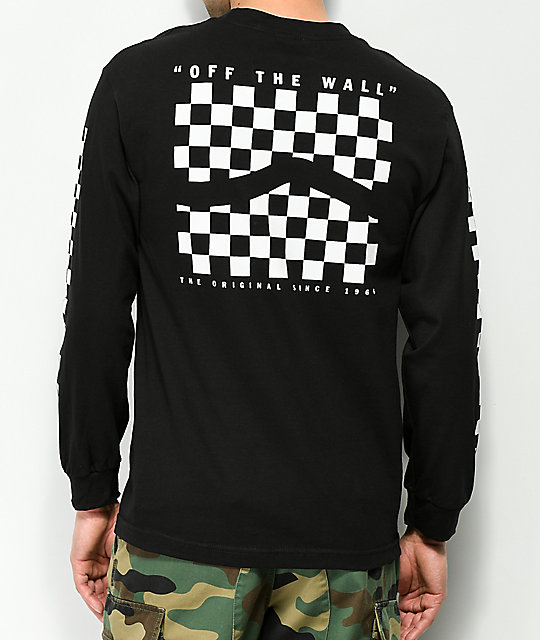 f13ca3de2a5ba1 Vans Checker Side Stripe Black Long Sleeve T-Shirt