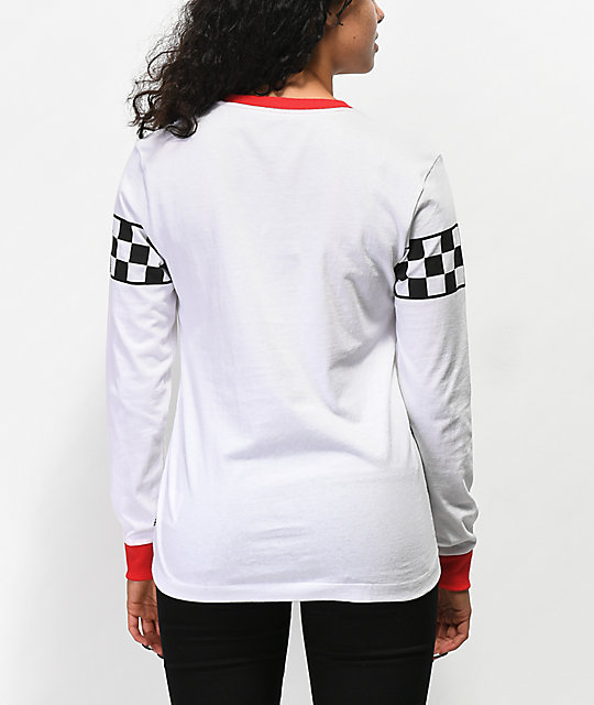Vans Checker White & Red Ringer Long Sleeve T-Shirt