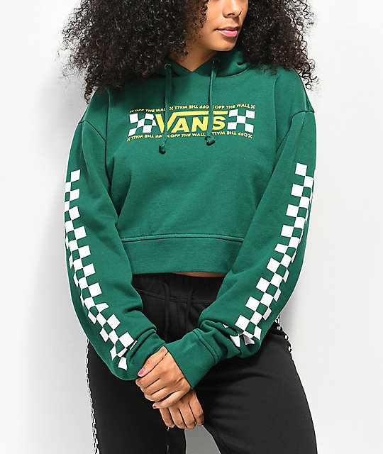 f480aa616a Vans Checkerboard Bar Green Crop Hoodie