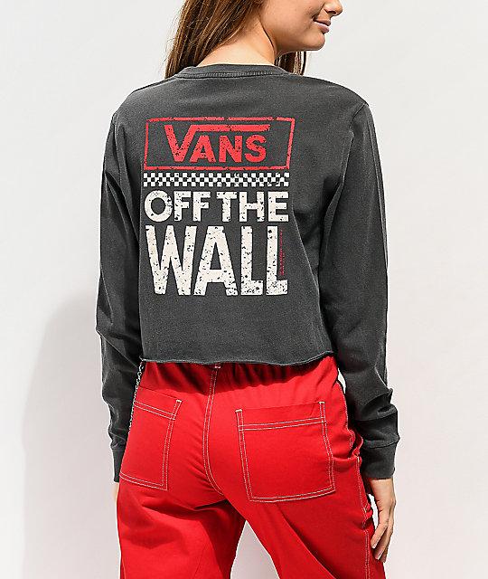 0e55da18 Vans Checkerboard Black Crop Long Sleeve T-Shirt | Zumiez