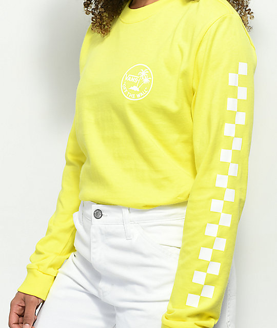 ... Vans Checkerboard Palm Yellow Long Sleeve T-Shirt ... 429bea96a