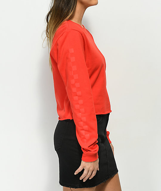 Vans Checkerboard Red Crop Long Sleeve Shirt
