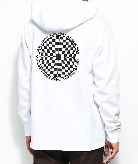 b7b1d4e7bd0 Vans Checkered Quarter Zip White Hoodie