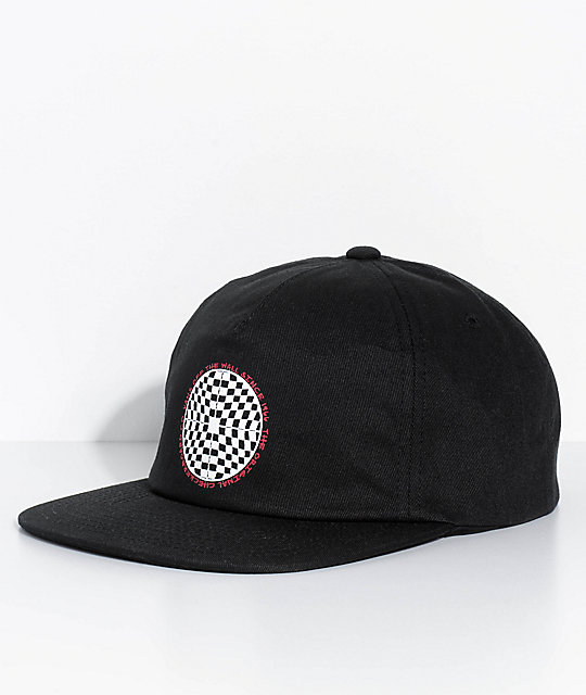 Vans Checkered Shallow Unstructured Black Snapback Hat  86e7ca559228