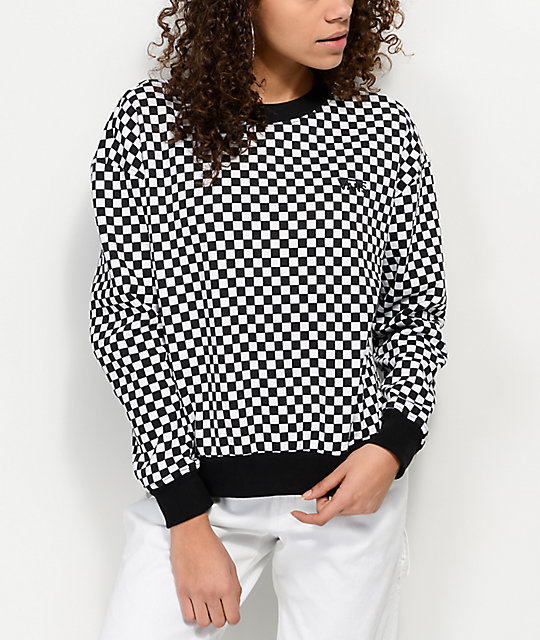 Vans Checkers Black & White Crew Neck Sweatshirt