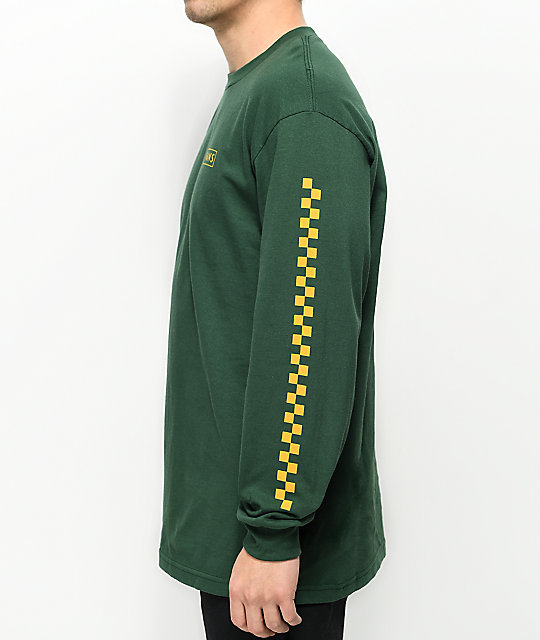 4b09dc65df3dd2 ... Vans Checkmate Green   Yellow Long Sleeve T-Shirt ...