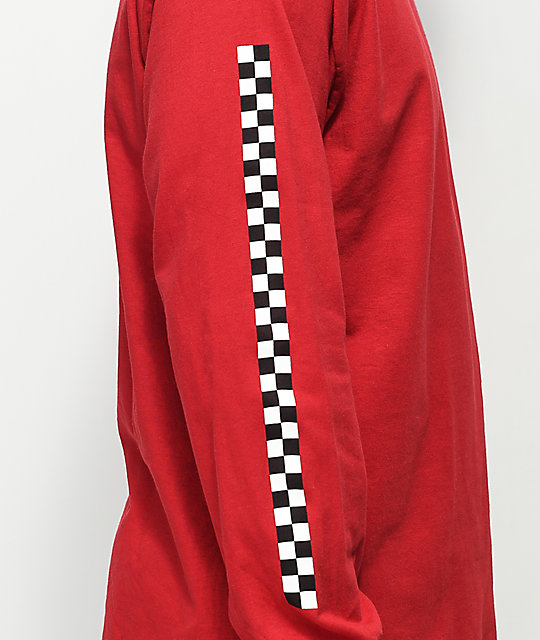 Vans Checkmate Red & Black Long Sleeve T-Shirt