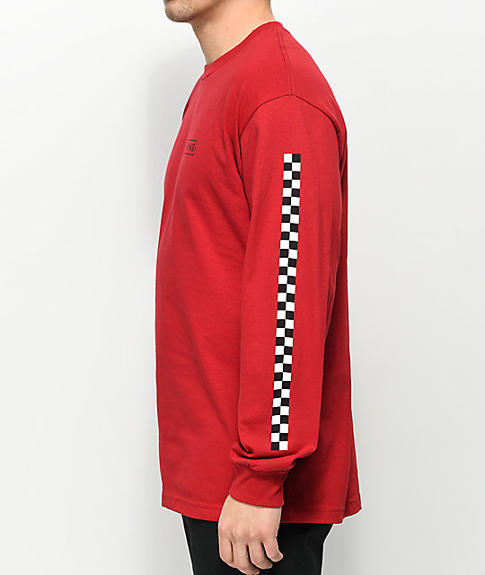 5f1dc865 Vans Checkmate Red & Black Long Sleeve T-Shirt | Zumiez