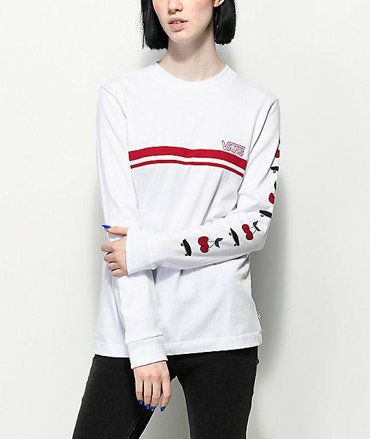 31b39ade Vans Cherry White & Red Long Sleeve T-Shirt
