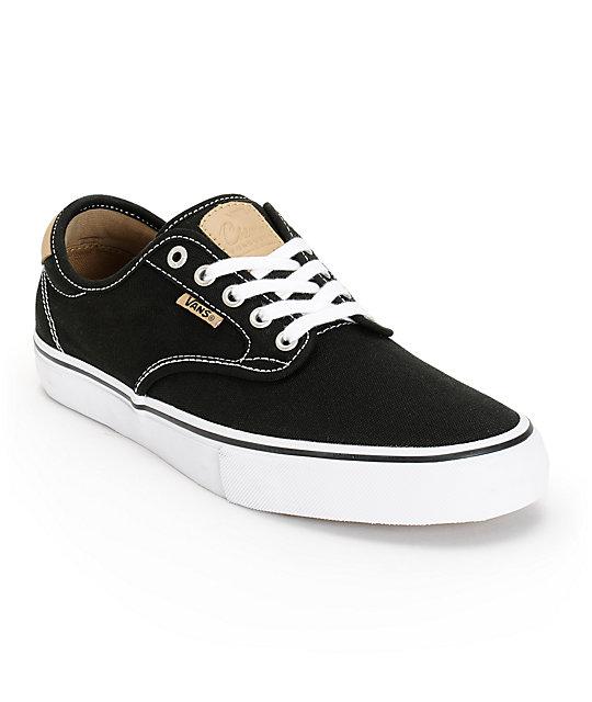 Vans Chima Pro Black   Tan Canvas Skate Shoes  1c9542b57d69