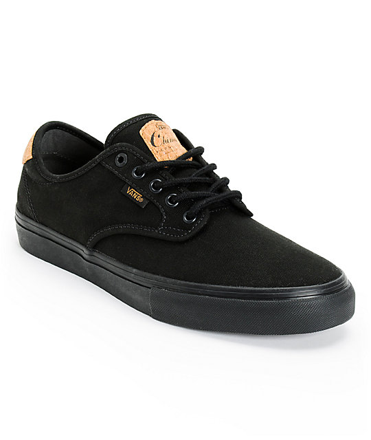 e040d974f5 Vans Chima Pro Cork Black Canvas Skate Shoes