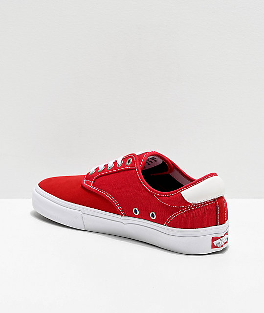 Vans Chima Pro Racing Red & White Skate Shoes