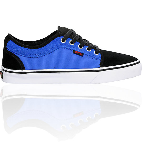 Vans Chukka Low Black & Bright Blue Skate Shoes