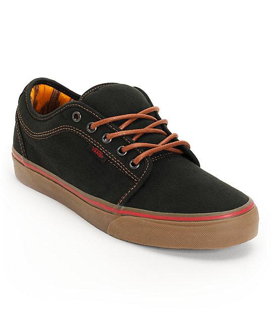 Vans Chukka Low Black & Gum Washed Canvas Skate Shoes ...