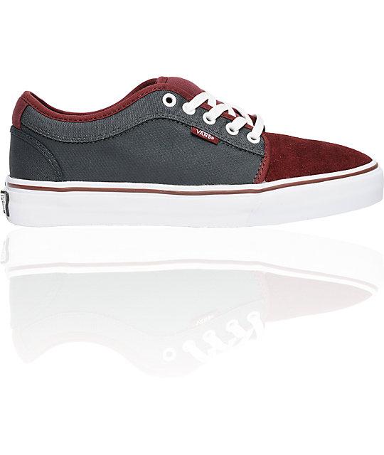 42db591332a9 Vans Chukka Low Burgundy   Grey Skate Shoes