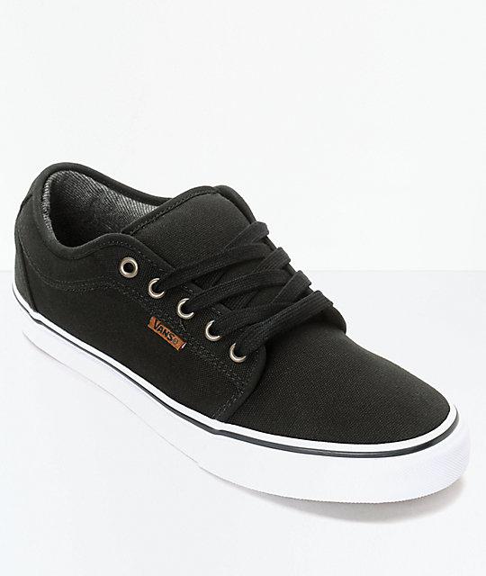 36ab4ab98821 Vans Chukka Low Canvas Black   White Skate Shoes