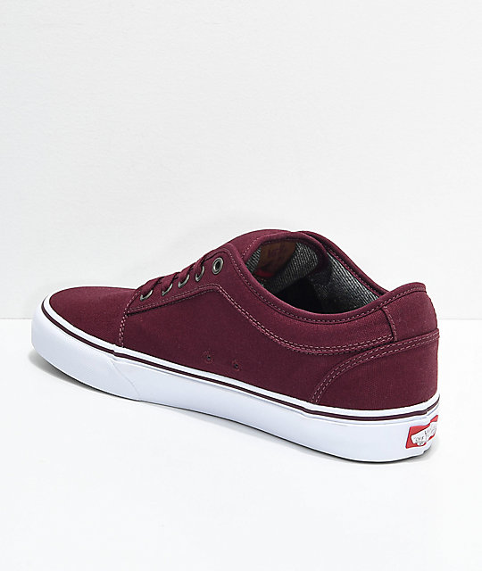 Vans Chukka Low Pro Port Red & White Canvas Skate Shoes