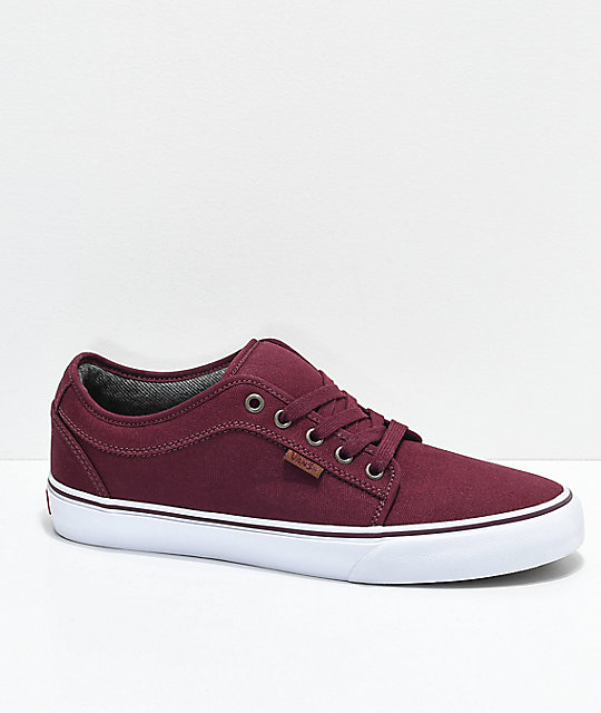 c930898346f0a8 Vans Chukka Low Pro Port Red   White Canvas Skate Shoes
