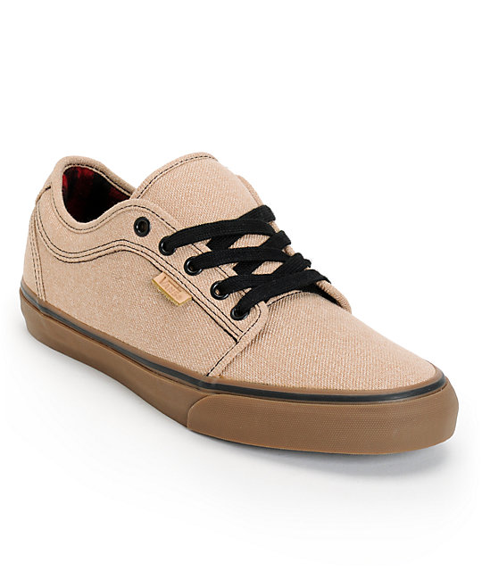 Vans Chukka Low Tan & Gum Canvas Skate Shoes ...
