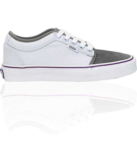 gray and purple vans shoes