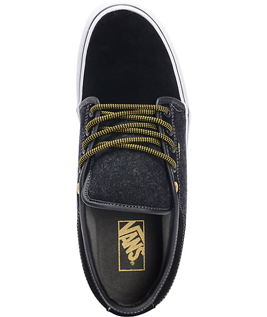 fca389f9a234 ... Vans Chukka Low Wool Black   Gold Skate Shoes ...