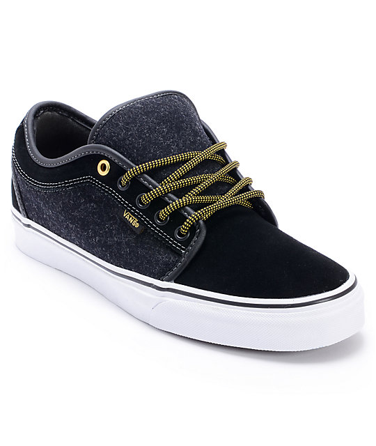 f780c1fb6c12 Vans Chukka Low Wool Black   Gold Skate Shoes