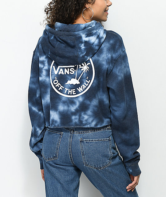 Vans Circle Palm Blue Tie Dye Crop Hoodie