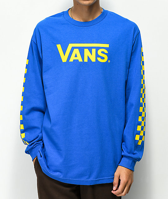 a0d62bfd06a158 Vans Classic Checkerboard Blue   Yellow Long Sleeve T-Shirt